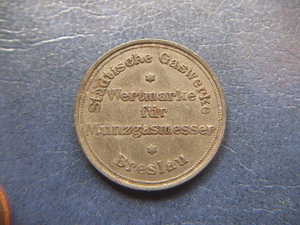 Stare monety Breslau Żeton gazowy Wrocław 1921 rok , patyna