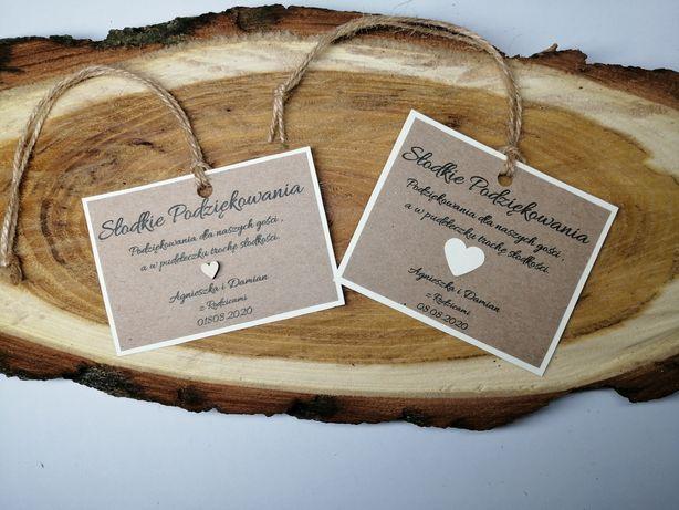 Bileciki na kołacz weselnyw formie zawieszki lub naklejki rustykalne