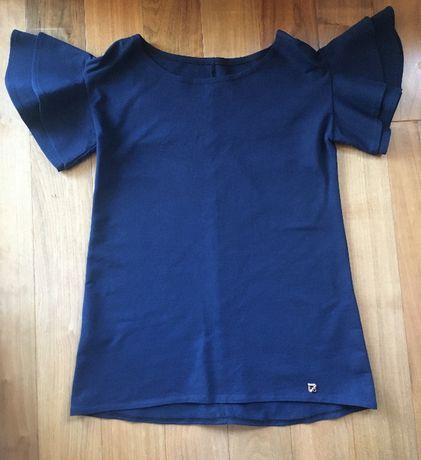 Granatowa bluzka z ozdobnymi rękawami, rozm. M