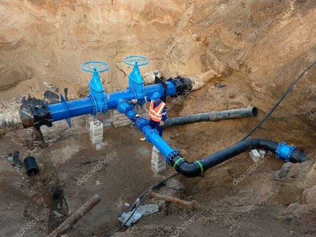 Przyłącza Sieci Drenaż Deszczówka Woda Kanalizacja Gaz Studnia