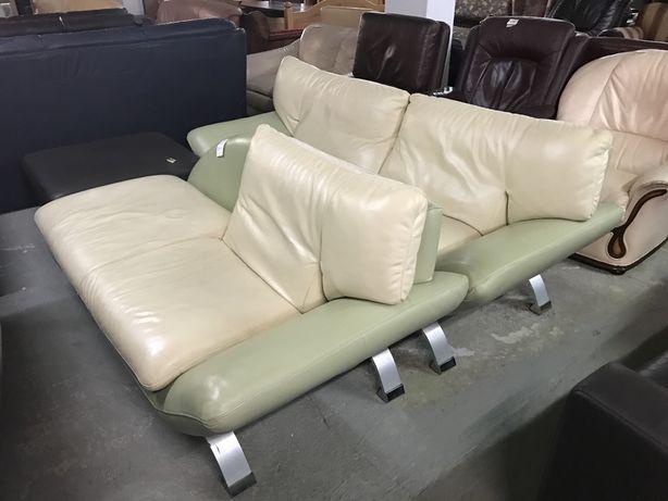 Wypoczynek skórzany jasny skóra sofa kanapa komplet wypoczynkowy DOWÓZ