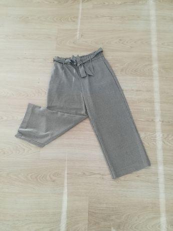 Kuloty ZARA 36 S pepitka szare cullots spodnie w pepitkę kratę kratkę