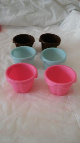 Pastelaria - Conjunto de 6 formas cupcakes silicone
