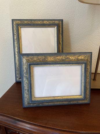 2 Molduras azul e dourado madeira