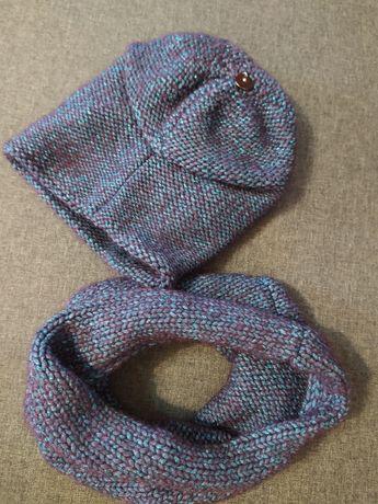Набор зимняя шапка и хомут