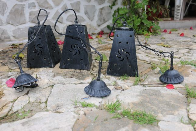 3 candeeiros de teto em latão de exterior