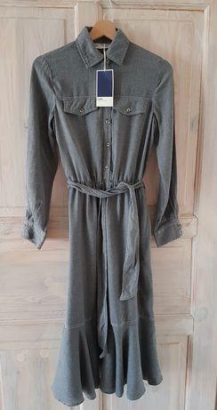 Szara sukienka midi Zara XS