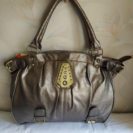 Новая вместительная большая сумка серый металлик