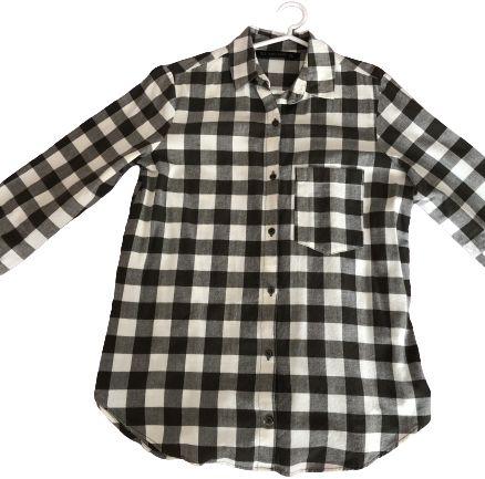 Camisa aos Quadrados Verde Tropa de Manga Comprida - Zara