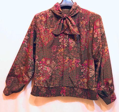 bluzka vintage długi rękaw krawatka khaki mix wzorów 38
