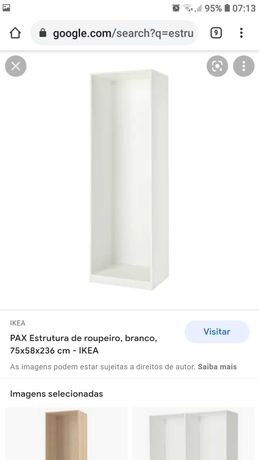 Estrutura de roupeiro branco IKEA