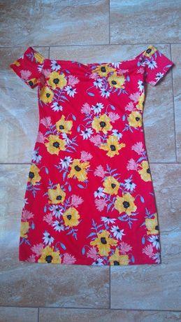 Czerwona sukienka kwiaty H&M roz 36 /38