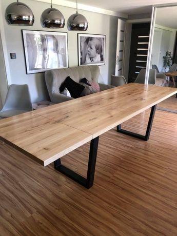 Stół dębowy z litego drewna rozkładany loft/industrial