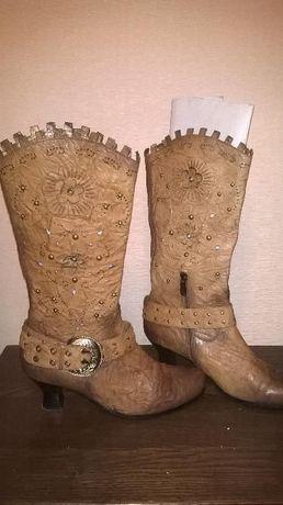 Сапоги демисезонные кожаные 38 размер