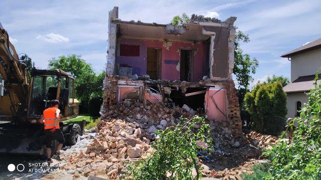 Wyburzenia budynków wywóz gruzu niwelacja i rekultywacja koparka