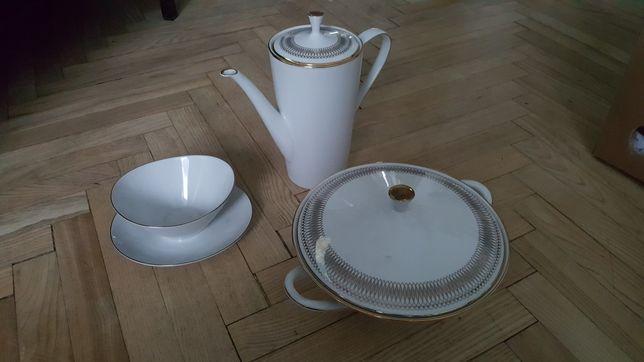 Porcelana waza sosjerka ibryk zastawa