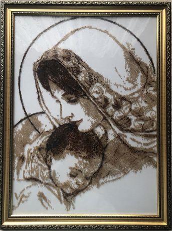 Картина вишита бісером «Мадонна з немовлям»