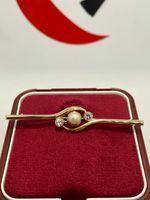 Złota broszka ORNO z cyrkoniami i perłą