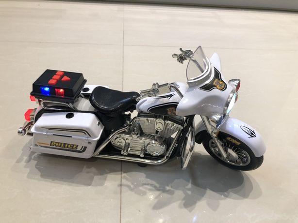 Motocykl Policja Biało- Czarny z Dźwiękami i Światłami