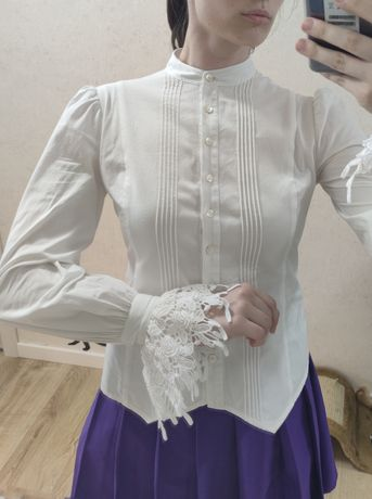 Блузка винтаж с кружевом длинным рукавом фонарик laura Ashley petite