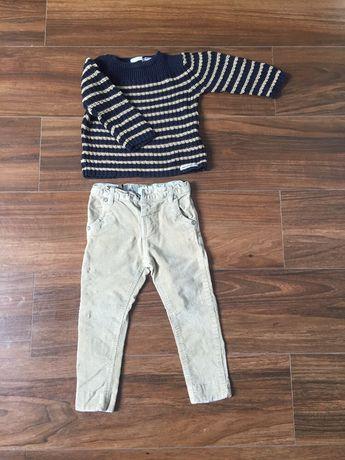 Zestaw elegancik spodnie sztruksy sweterek zara 86/94