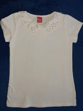 śliczna biała bluzeczka bluzka galowa do szkoły 128cm