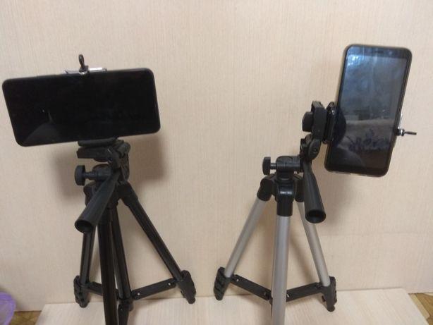 Штатив тринога трипод с держателем для телефона селфи съёмка пульт блю