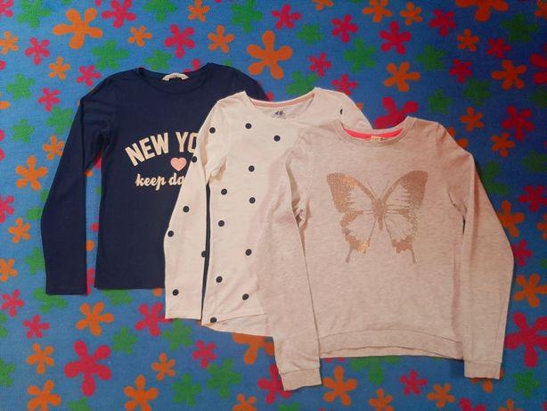 Trójpak bluzek z H&M roz. 134-140 cm na 8-9 lat