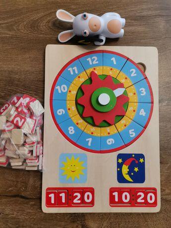 Kalendarz edukacja drewniany + gratis zabawka