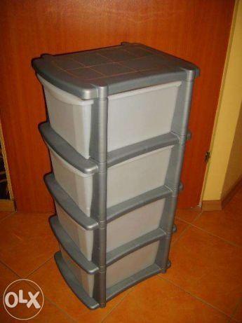 Praktyczna SZAFKA plastikowa 4 szuflady srebrna, regał idealny do domu