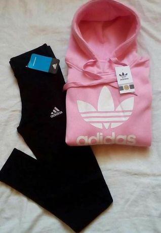 Bluzy damskie z logo Adidas plus getry S-XL!!!