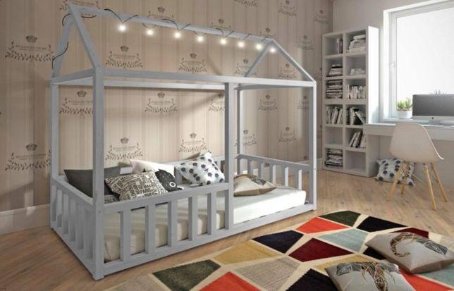 Drewniane łóżko dla dzieci Niko 1 osobowe materac gratis ! Łózko DOMEK