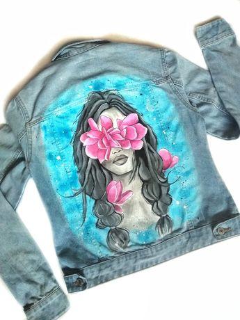 модная яркая стильная джинсовка джинсовая куртка ручная роспись