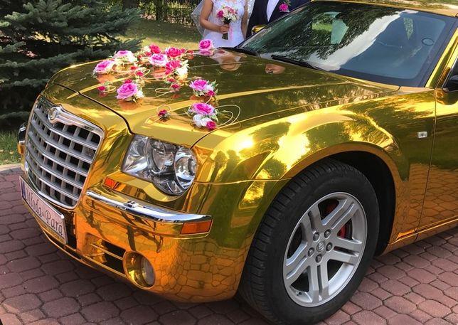 Auto Samochód Limuzyna do Ślubu Złoty Lustrzany chrom Chrysler 300C