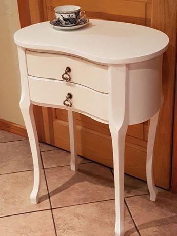 Stolik drewniany szafka konsolka ludwik nakastlik biały