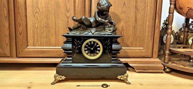 Śliczny, wielki zegar figuralny kominkowy ,XIXw,Francja
