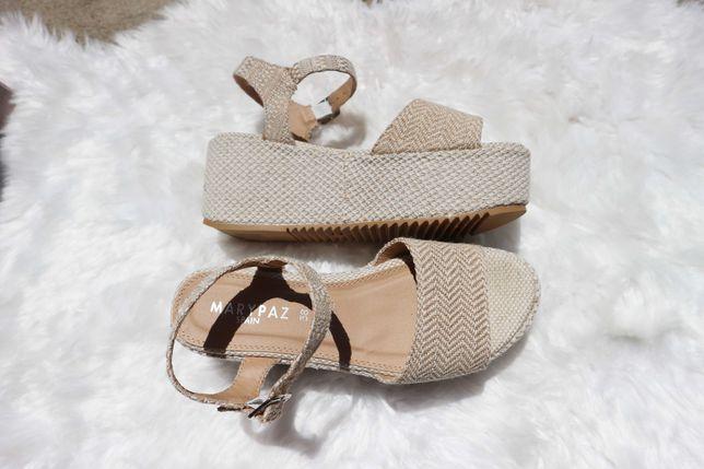 Sandálias Plataforma Beges - Marypaz (Nunca usadas)