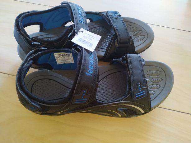 Sandały męskie Feewear niebiesko czarne 44
