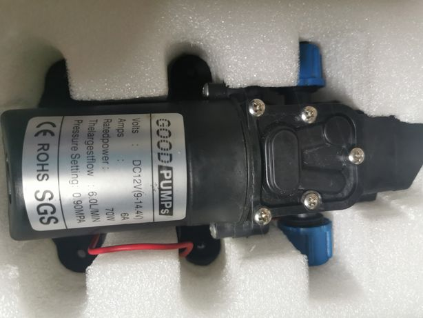 Мембраный насос высококо давления с датчиком давления и фитингоми 12 В