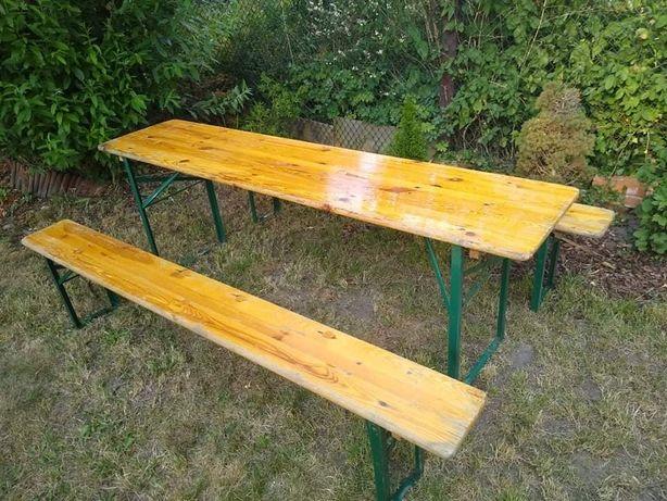 Ogrodowy piknikowy zestaw mebli składany stół +2 ławki biesiadny grill