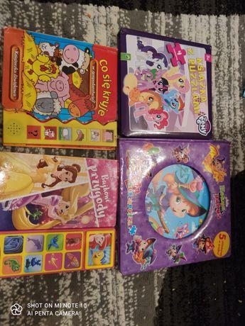 4 ksiazki puzzle i multimedialne