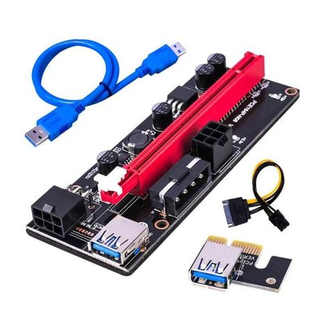 Adaptador Riser PCI-E 1x-16x VER 009S | 2x 6 pin USB 3.0 60 cm Mining
