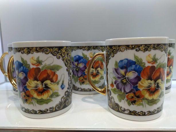 Kubki 5 sztuk porcelana Karolina ze złoceniem rok 1988