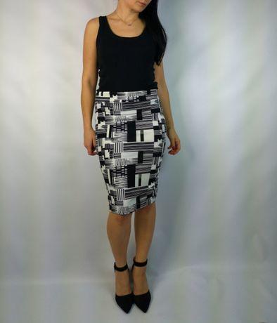 Ołówkowa spódnica biało czarna do biura pracyeVa design