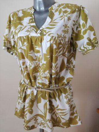 Bluzka,  tunika, oliwkowo - kremowa w rozmiarze 40