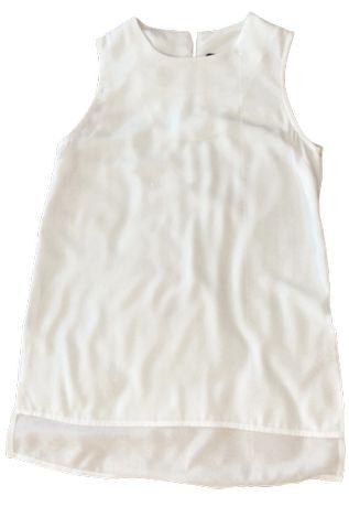 Blusa Branca Comprida Sem Manga