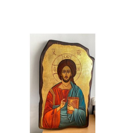 Икона Исуса Христа  Масло с сусальным золотом