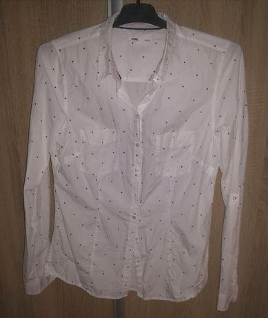 Biała koszula w granatowe kropki sinsay L