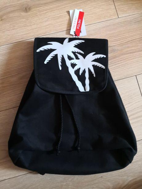 Shellbag piekny damski plecak na lato czarny palmy z zamszu METKA