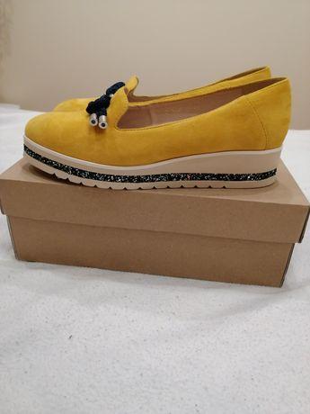 GRACJA Nowe piękne skórzane buty rozm. 38